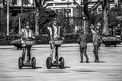 """Segway"" - Street Photography (Terje Helberg Photography) Tags: park street city summer urban blackandwhite bw monochrome norway town candid helmet citylife streetphotography samsung backpack segway bergen bnw visitnorway nx1000 visitbergen"