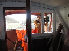 Stephen and Duncan installing brake van glazing 12Apr15