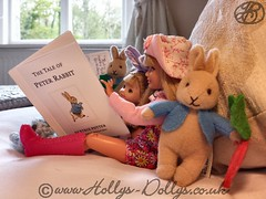 Enjoying a Peter Rabbit Story Book (HollysDollys) Tags: family vacation lake rabbit fashion sisters toy toys happy book blog stacie doll dolls princess sister district families emma barbie potter ella story peter shelly kelly bedtime cinderella beatrix ruby dolly stories dollies dollie dollys disneydoll