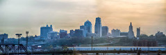 Kansas City skyline at sunrise (DigiDreamGrafix.com) Tags: city railroad urban panorama copyright usa horizontal skyline sunrise buildings us highway midwest downtown cityscape traffic unitedstates pano unitedstatesofamerica bluesky nobody nopeople panoramic mo kansascity route missouri daytime clearsky urbanlandscape copyrighted urbanarea elevatedview