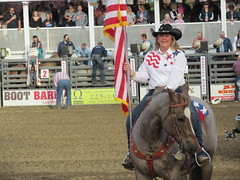 Redding Rodeo Tammy Baker American Flag (Nancy D. Brown) Tags: california americanflag rodeo cowgirl redding flagholder reddingrodeo