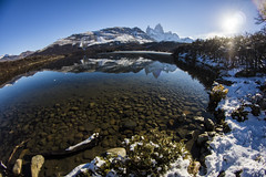 El Fitz Roy, Argentina (Tobias Mayr) Tags: santa wood blue trees sky sun mountain lake snow cold reflection water argentina roy beautiful lago rocks day crystal hiking may calm clear cruz lensflare stick monte visible 8mm fitz f35 samyang abigfave