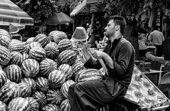 Water melon man (Saman A. Ali) Tags: street streetphotography stphotografia blackwhite blackandwhite documentary social monochrome man market watermelon people fujifilm fujifilmxt1 outdoor fujinon35mmf2