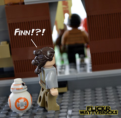 Finn Heads For The Outer Rim (WattyBricks) Tags: lego star wars episode vii the force awakens finn fn2187 bb8 rey takodana