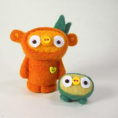 Pungkin and Nurblet (Kit Lane) Tags: kitlane ursa jacabob nurblet wool felted felting kawaii pumpkin