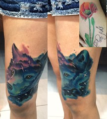 wolf (ktattoo2711) Tags: art animal tattoo watercolor sketch wolf artist vietnamese drawing sketching tattoos vietnam galaxy cover draw saigon linework tattooist si gn watercolortattoo saigonese smalltattoo xm covertattoo