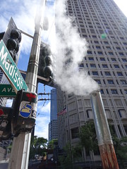 Steam flows out of pipe on Madison street in Downtown Seattle (Eric Broder Van Dyke) Tags: steam flows out pipe madison street downtown seattle sticker lightsstreet city architecture industrial industry clouds commerce urban washington view wa water skyscrapers tower building sky power small smoke white environment air skyline smokestack beautiful beauty buildings production producing port busy condos district northwest cloudy color