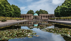 Eaton Park, Norwich (+Pattycake+) Tags: eatonpark norwich outdoor watercourse water landscape arch dome architecture bandstand garden waterlilies reflections light shadow wideangle columns sky clouds trees