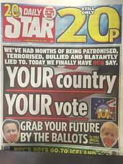 Tabloid Headline Brexit Vote 22nd June 2016 (jeffdjevdet) Tags: free image stock photo brexit tabloid daily star newspaper newspapers press uk front page news headline headlines eu referendum