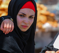 Can she be comforted? (ybiberman) Tags: israel jerusalem oldcity alquds muslimquarter ramadan fridayprayer woman portrait hijab veil pain mascara candid streetphotography