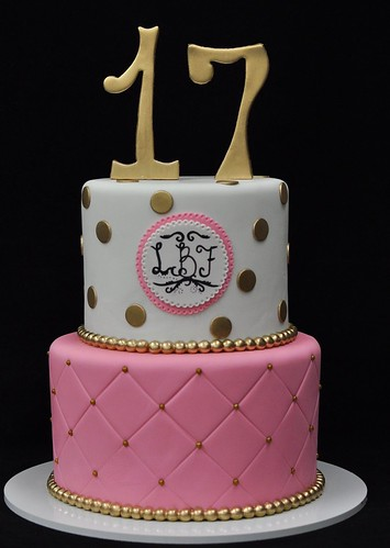 Pink Gold And White 17th Birthday Cake