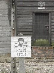 Auschwitz (dokusha.san) Tags: polonia poland auschwitz birkenau holocausto holocaust nazis segundaguerramundial ww2 halt stoj calavera skull sign seal cartel campodeconcentracin concentrationcamp