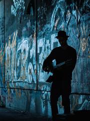 Rhythm and Blue (fehlfarben_bine) Tags: berlin musician guitar graffiti silhouette blue photowalkwithkristin nikond800 240700mmf28 fac