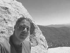 Mission Accomplished (Blue Rave) Tags: 2016 sanjacintomountains trail nature idyllwild california ca iphonephotography iphoneography trees suiciderocktrail hike hiking suiciderock blackandwhite bw self myself ego me bloke dude guy male mate people selfie mountains