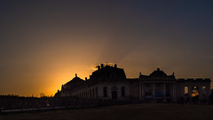 Sunset mood above the royal stables (dd.hz34) Tags: hdr clearsky rays sunset equestrian chantilly castle sun bright panorama orange blue sunsetlovers