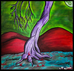 Tecnica Mixta - Arbol ( Niels Len  Ilustracin - sketch/Portafol) Tags: draw drawing colores color dibujo chile santiago art arte acuarela watercolor acrlico ilustration ilustracion work urban urbano city ciudad animales animals