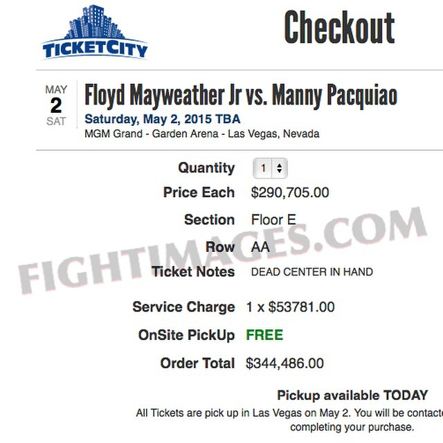 1 floor seat ticket (dead center) to #Mayweather VS. #Pacquiao: $344,486 (includes service charge).  WHO WANTS IT😜  #MayPac #Boxing #FIGHTIMAGES