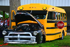 S'Cool Bus (scott597) Tags: show county street school ohio black bus yellow fairgrounds flames butler annual custom rods scool 45th cincy 2015