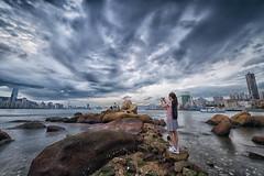 cloudy shooting day (ixfoto) Tags: cloud reflection landscape hongkong seaside slowshutter leiyuemun