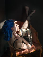Relax (Bruce M Walker) Tags: stockings garter bluehair sheer vintagelingerie