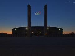 Oly_021 (p¡Xelbre! by LTX) Tags: sunset sky berlin silhouette architecture football sonnenuntergang stadium himmel historic architektur bluehour stadion olympicstadium hdr charlottenburg olympiastadion historisch blauestunde fusball