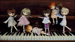 I don't hear much practicing girls.... (TutuBella) Tags: jerryberrydolls antique piano music lessons krataiscrafts