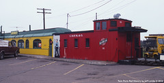 Choo-Choo Bar's C&NW Caboose at Itasca in Superior, Wisconsin 1984 (Twin Ports Rail History) Tags: twin ports rail history by jeff lemke time machine south superior wisconsin 1980 choochoo grill restaurant lstt railway lake terminal transfer caboose bar itasca cnw yard chicago north western omaha