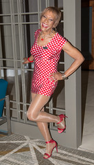 I'm Posing Again! (kaceycd) Tags: crossdress tg tgirl lycra spandex polkadot minidress pantyhose platino cleancut 15denier sandals peeptoesandals opentoesandals highheels stilettosandals stilettoheels sexysandals stilettos s