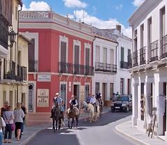 Spain (Ronda) Horse riding through the city