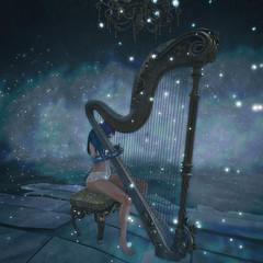 Harp (Apple aka Ossia) Tags: maitreya ama skinnery clawtooth erratic drd kalopsia anc avatar second life space beautiful boobs lingerie ethereal fantasy sl blog blue hair harm harp play musical instrument