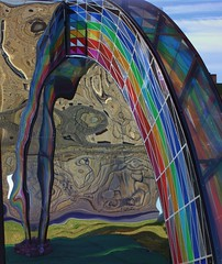 Rainbow Art (craigdwilkinson) Tags: streetart reflection newcastle rainbow artwork distorted northeast stuartlangley