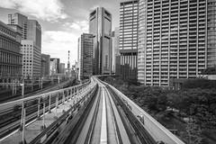 DEPARTING (ajpscs) Tags: ajpscs japan nippon  japanese  tokyo  nikon d750 monochromatic grayscale monokuro blackwhite blkwht bw blancoynegro streetphotography station monorail departing