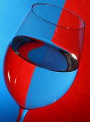 Wine Glass (1selecta) Tags: glass wineglass fragile red blue black white reflection refraction refracting refracted reflective reflecting reflected stem round bleed bleeding curved rounded circle curving bright phenomena highlight highlights saturation saturate saturated