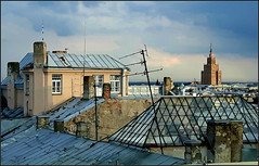 Riga roofs and Stalinist highrise in central Riga, Latvia. August 21, 2016 (Aris Jansons) Tags: city capital skyline roofs highrise buildings riga rīga latvia latvija baltic europe 2016 academyofsciences stalinist architecture