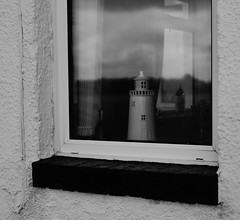The Lighthouse (Man with Red Eyes) Tags: window reflection lighthouse monochrome blackwhite conversion afsdxnikkor35mmf18g d500 nikond500 lancashire