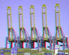 Port of Rotterdam 3D (wim hoppenbrouwers) Tags: 3d rotterdam anaglyph cranes stereo maasvlakte containers portofrotterdam redcyan yangtzekanaal