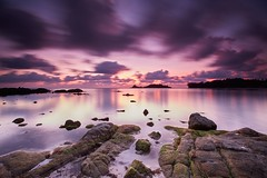 0G3B6003 - Turning of the Tide (Eddie HBH) Tags: longexposure mountains reflection beach water sunrise thailand rocks dramaticsky kosamui