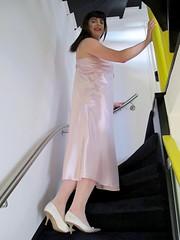 Upstairs (Paula Satijn) Tags: pink sexy girl stairs shiny soft pumps silk tgirl transvestite satin gurl silky nightgown nightdress nightie