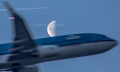 """2 planes heading for the moon just after sunrise • <a style=""""font-size:0.8em;"""" href=""""http://www.flickr.com/photos/125767964@N08/17066415110/"""" target=""""_blank"""">View on Flickr</a>"""