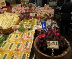 Foods on display, #4, Teramachi Street, Kyoto, Japan, July 2014 (Judith B. Gandy) Tags: japan shopping kyoto markets shops stores teramachistreet teramachi