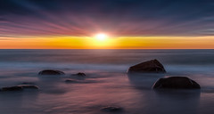 Here comes the night (wigchristian) Tags: longexposure sunset sky sun sunlight seascape cold colors night reflections landscape denmark evening landscapes saturated rocks soft skies colours shadows seascapes wildlife smooth shades silky waterscape warmcolors softwater