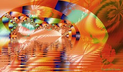 Flashback (KingfisherDreams) Tags: orange reflection art intense vibrant creative vividcolour tropical fractal cheerful psychedelic lakeeffect hippychic ultrafractals technicolourdream