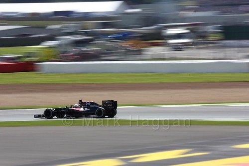 Fernando Alonso in his McLaren in 2016 British Grand Prix