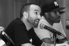 IMG_9573 (Brotha Kristufar) Tags: nyc bw ny college monochrome closeup portraits canon campus 50mm marketing athletics shoes panel zoom market culture indoor nike 300mm jordan business indoors footwear portraiture sneaker week conference consultant discussion hip hop press wes owner businesses ewing portrat panelist evers medgar panelists entreprenuer brokklyn