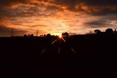 Star burst sunset (Matt Burke) Tags: trees orange clouds lens star pylon attachment stokeontrent burst starburst tunstall