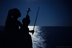 Listen... (ValeriaBD) Tags: nikon d7000 night nature music sea seaside mood moon moonlight sky water path silhouette fine art photoart portrait woman classical musicians violin play musical instrument valeriabd
