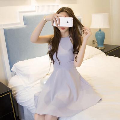 Sexy ärmellose Sommerkleid neue Frauen 2016 Nachtclubs hängen Umhängeband Kleid Neckholder Taille schlank Kinder Überspannungsschutz