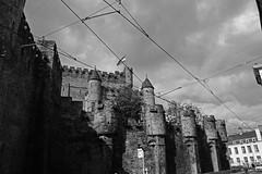 Cables and stones (dani_bienes) Tags: cabe castle belgium belgica black white blanco negro castillo cables modern