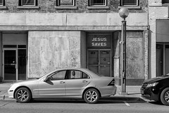 Untitled - II (BW), Adrian, MI, July, 2016 (Norm Powell (napowell30d)) Tags: fineart building brick buildings architectural michigan quotidian bw blackandwhite monochrome travel puremichigan car cars architecture july adrian minimalist