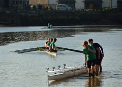 Getting set (alderney boy) Tags: boats boots quay wharf rowing blades preparation sculls riverdart totnes darttotnesarc